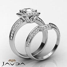 Asscher Diamante de Compromiso GIA i SI1 14k Oro Blanco Set Nupcial Pavé Anillo