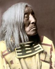 "LONE TREE NATIVE AMERICAN APSAROKE CROW 1908 8x10"" HAND COLOR TINTED PHOTO"