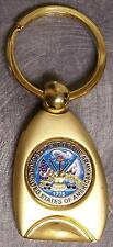 Engraveable 2 tone brass key ring Department the Army NEW