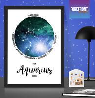 Personalised Aquarius star sign/zodiac constellation print/horoscope art gift