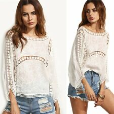 Fashion Women's Lace Crochet Long Sleeve Shirt Casual Blouse Loose Tops T Shirt