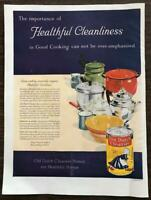 ORIGINAL 1929 Old Dutch Cleanser PRINT AD Healthful Cleanliness