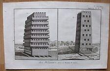 Militaria - Art Militaire - Belagerungstürme - Kupferstich ( Diderot ) um 1750