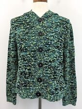 Ball of Cotton Sweater L Blue Turquoise Multicolor Womens Hooded Button Cardigan