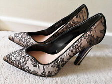 ALEXANDER MCQUEEN black floral lace leather pointed toe perspex heel shoe 39 6