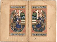 Handmade Miniature Portrait Of Mughal Emperor And Empress Art Painting On Paper