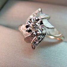 14K 5 Diamond White Gold Ring Circa 60s Size 7 Flower Motif 3.38 Grams Vintage