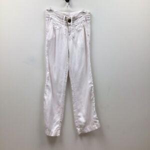 Athleta Womens Activewear Pants Pink Smocked Drawstring 100% Linen Pockets Zip 4