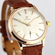 ELEGANT VINTAGE OMEGA 18K SOLID GOLD MANUAL WIND AUTHENTIC SWISS GENTS WATCH