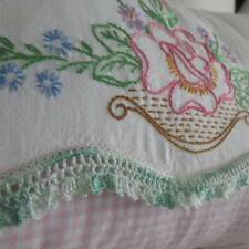Cottage Home Roses Embroidered Vintage Lumbar Pillow Sham 20x12
