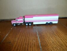 HO SCALE CUSTOM MACK TRACTOR AND TRIPLE DROP BOX TRAILER  PINK/WHITE