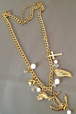 collier couleur or pampille perles blanches croix ancre coeur aile poisson  5235