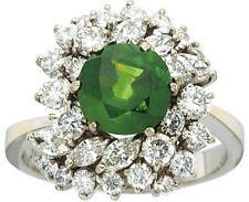 Beautiful Green 2.0 ct Demantoid Garnet Ring 18k white gold with Diamonds
