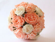 Bridal Peach and Ivory, Rose and Peony Wedding Bouquet with Diamante and Pearl