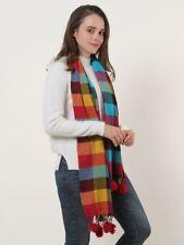 Luxury Soft Touch PLAID / TARTAN Pom Pom Check Scarf Shawl Stole Wrap Large 180X