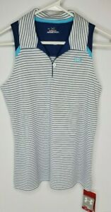 NWT Under Armour Women's SZ MD Heat Gear White& Blue Sleeveless Golf Polo Top