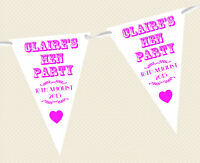 PERSONALISED VINTAGE TEXT HEN PARTY/NIGHT/WEEKEND BUNTING - BANNER DECORATION