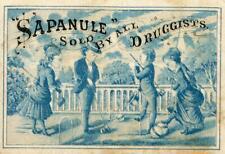 SAPANULE*QUACKERY*BLUE & WHITE*CROQUET PLAYERS*VICTORIAN TRADE CARD #3