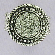 Round Aztec Stretch Ring - Fashion Dinner Cocktail Rhinestone Silver One Size