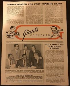 1968 SAN FRANCISCO Giants Jottings NEWSLETTER Willie MAYS McCOVEY Mike McCormick
