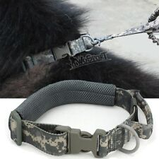 Tactical Dog Collar Handle Buckle Adjustable Training Dog Strap Ring ACU Camo