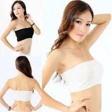 Sexy Women White Bandeau Seamless Bra Tube Tank Top Strapless Stretch One Size