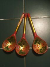 3 x Russian handpainted Khokhloma lacquered wooden Spoons (with original label)