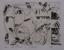Gravure-Pointe sèche-Abstraction-Géométrique-BURET-1999-Eau forte-Estampe