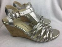 Isaac Mizrahi Live Women's Size 9 M Sandals 'Simmer' Silver Leather Wedge Heels
