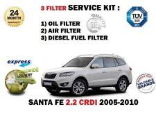 Per HYUNDAI SANTA FE 2.2dt CRDi 2005-2010 Service Set Olio Combustibile Aria Kit Filtro