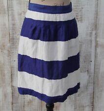 ANN TAYLOR LOFT Women Sz 00 Blue White Striped Knee Length LINEN Skirt