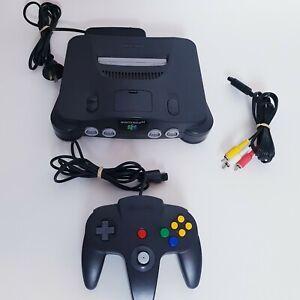 Black Nintendo 64 N64 Game Console + Black Controller & Cords PAL AUS