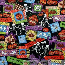 BonEful Fabric Cotton Quilt Orange Halloween Skeleton Skull Ghost B&W Cat SCRAP