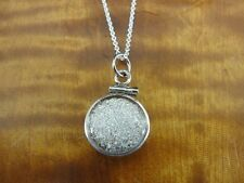 Silver Crystal Round Bezel Sterling Silver 925 Pendant Necklace Chain