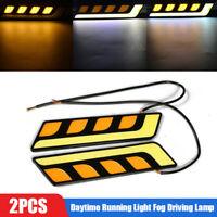 2x White+Amber COB LED Car DRL Daytime Running Light Fog Driving Lamp