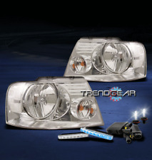 2004-2008 FORD F-150 CHROME CRYSTAL HEAD LIGHT+BLUE LED DRL BUMPER SIGNAL+6K HID