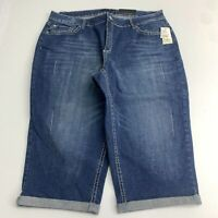 NWT Cato Denim Capri Jean Shorts Women's Plus 22W Blue Cuffed  Flat Front Pocket