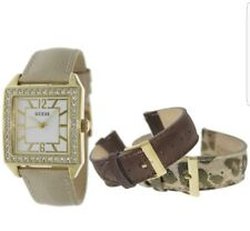 🐆🍃 GUESS GOLD LADY WATCH BRONZE ANIMAL CHAMPAGNE LEATHER STRAPS BOX SET 🍃🐆