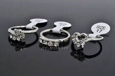 Wholesale Lots 10pcs Exquisite Mixed Crystal Rhinestone Silver Tone Rings FREE
