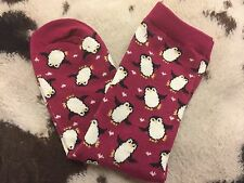 LADIES CHRISTMAS PENGUINS HEARTS PINK ANKLE SOCKS ONE SIZE BN