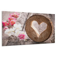 Tempered Glass Photo Print Wall Art Picture Love Heart Cut Wood Prizma GWA0340
