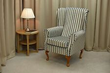 Small Westoe Wing Back Fireside Armchair a Blue & Chocolate Candy Stripe Fabric