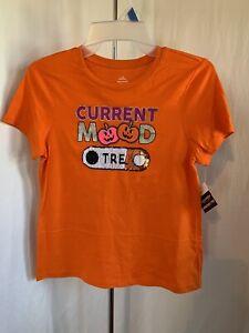 Halloween Girl's Orange Short Slv. Current Mood Trick/Treat Graphic T-Shirt NWT