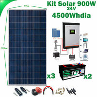 Kit Solar 24v 900w Inversor 3kva PWM 50Ah Híbrido Batería Monoblock TAB 245Ah