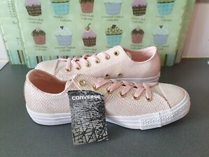 ** NEW ** WOMENS PINK & ROSE GOLD CONVERSE ALL STAR SIZE UK 7