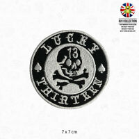 Lucky 13 Silver Circle Patch Iron On Patch Sew On Embroidered Patch
