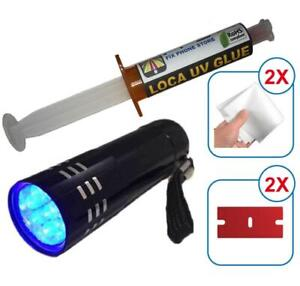 FLASHLIGHT UV + LOCA GLUE 5ml *LOW VISCOSITY LCD GLASS REPAIR Samsung Iphone HTC
