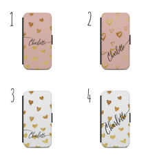 Gold Heart Personalized initial Flip wallet Phone case cover s7/s8/ A64