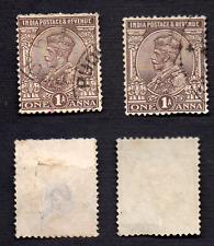 India Postage King George V utilisé/Menthe 2 x 1 A Vintage Stamps