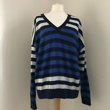 MARKS AND SPENCER 100% Merino Wool Jumper Size Large Blue Stripe V Neck